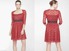 Marc New York By Andrew Marc Red Square Neck Lace Fit Flare Dress . NWT Sz.2