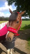 NEW Horse print fur padded headcollars halter + matching lead RED FULL