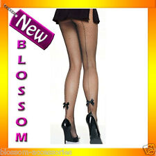 7822 Black Backseam Fishnet Tights Stockings With Satin Bow