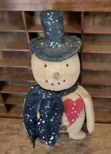 New ListingPrimitive Valentine Heart Snowman Doll, Folk Art Winter Love