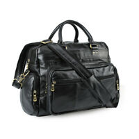 Black Men's Leather 14''Laptop Business Briefcase Messenger Shoulder Bag Handbag