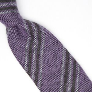 John G Hardy Mens Wool Necktie Purple Black Gray Repp Stripe Weave Soft Italy