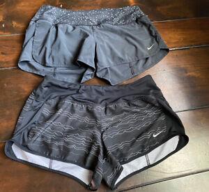 Lot Of 2 Nike Women's Size Medium Dri Fit Black Athletic Shorts