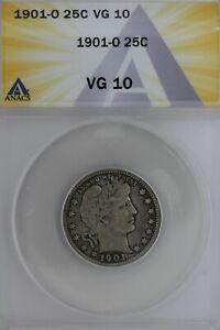 1901-O  .25  ANACS   VG 10   Barber Quarter, Liberty Head Quarter, Barber 25c,