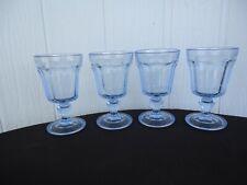 4 vintage Bormioli Rocco blue goblet glasses