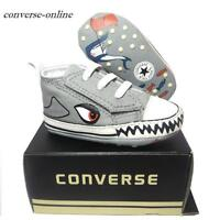Baby Boys CONVERSE All First Star SHARK SLIP ON Crib Trainers Shoes 20 UK SIZE 4