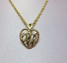 """Initial With An 18"""" Rope Chain 14Kt Gold Ep Personalized Letter U Heart"""