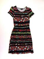 Asos Womens Striped Black/Floral Knit Dress Elastic Waist Short Sleeve Size 6