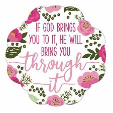 If God Brings You To It Pink Floral 3 x 5 Vinyl Sticker Decals