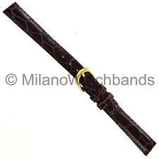 12mm deBeer Brown Handcrafted Wild Alligator Grain Stitched Ladies Watch Band