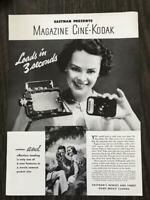 1936 Eastman Kodak Print Ad Magazine Cine-Kodak Loads in Three Seconds