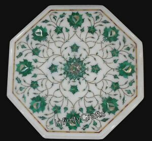 13 x 13 Inches White Corner Table Top Octagon Shape Coffee Table Inlay Work