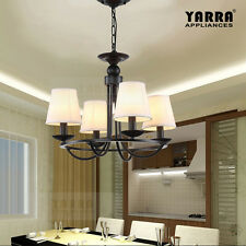4-Light Chandelier Pendant Country Style in Matt black with White Shade
