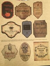 """LABELS ONLY Small Apothecary Potion Bottles Harry Potter Party Prop 3"""" Tall"""