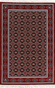 Elegant All-Over Black Plush Soft Geometric Hereke Turkish Oriental 5x7 Area Rug