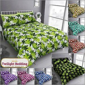 LUXURY MARIJUANA CANNABIS WEED LEAF Quilt Duvet Cover Pillow Case Bedding Set