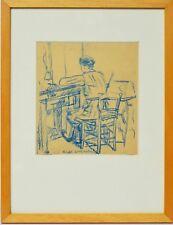Pastell Adriano Cassini Portrait Arbeiterin 1959 Sammlung Karl Schott 35x27 cm