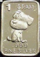 1 Gram .999 Fine Pure Solid Silver Bullion (Uncirculated) Mini Art-ba: PUPPY-DOG
