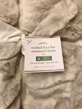 "POTTERY BARN Ruched Lux Faux Fur Oversized Throw 60"" X80"" Ivory Gift sold out"