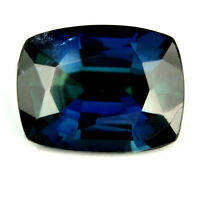 Certified Natural Sapphire 1.65ct Cushion VS Unheated Greenish Blue Color Gem