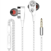 Hot hifi earphone dual dynamic headphone super bass stereo headset with mic KC