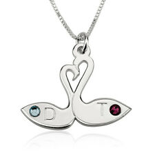 Love Necklace Birthstone Swan Necklace for Couples Love Birds Personalized Gift