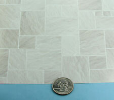 1:12 Light Grey Faux Slate/Stone Paper Tile Flooring for Dollhouse #SDIY434A