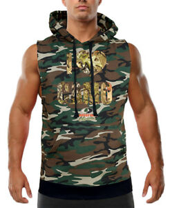 Men's I Love Camo Mossy Oak Camo Sleeveless Vest Hoodie Hunting Army Military