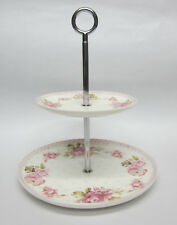 New 2 Tier Rose Cake Plate Stand to Display Cakes & Slices Great for a High Tea