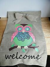 """New listing 2014 Owl """"Welcome"""" Burlap Yard Decor' Flag w/Bows 2 Sided ~Vgc~ 1 Day Shipping"""