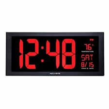 Large Digital Clock with Indoor Temperature LED Wall Date and Fold Out Stand