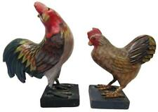 Hand Carved Painted Wood Rooster Chicken Set 2 Vintage 90's Bali