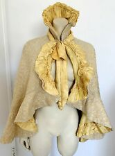 GORGEOUS ANTIQUE VICTORIAN ERA YELLOW CAPE STAND UP COLLAR S-M