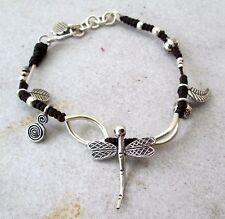 NiCe! Hmong Hill Tribe Unisex Silver & Hemp Adjustable Charm Bracelet Dragonfly