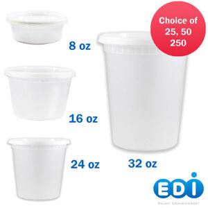 EDI 8 oz, 12 oz, 16 oz, 24 oz or 32 oz Deli Food Containers & Lids