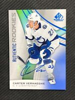 2019-20 UPPER DECK SP GAME USED CARTER VERHAEGHE AUTHENTIC ROOKIE AUTO BLUE #135