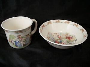 Royal Doulton Bunnykins cup & bowl English Bone China rabbits art keepsake baby