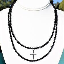 "AAA-Gem Grade Black Tourmaline Necklace Adjustable 17"" - 19.5"" 925 Silver 4.3mm"