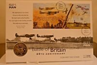 Isle Of Man ~ 1st Day Cover & 1 Crown Coin ~ Battle Of Britain 60th Anniversary.