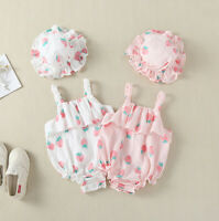 Infant Newborn Baby Girls Romper Bodysuit Jumpsuit Clothes Sunsuit Hat Outfits
