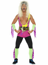 Adult Mens Wrestling Costume WWF WWE - Fancy Dress Stag Party - Wig included