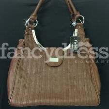 Brown Large Textured Bag Ladies Handbag Faux Leather Zipper Fashion Bag New