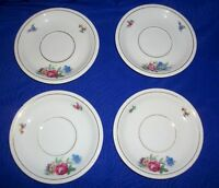 Lot of 4 Vintage Floral Saucers Made in Germany 5.75""