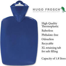 Hugo Frosch Classic Comfort Hot Water Bottle Blue 1.8 L