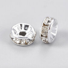 500x Rhinestone Crystal Clear Rondelle Charm Spacer Beads Grade A 8MM