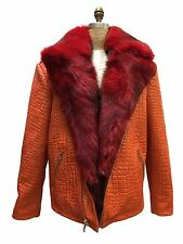 Genuine Fox Fur Embossing Leather Jacket Men Orange Red Brand Motorcycle Fox 2XL