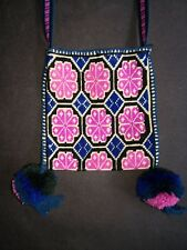MEXICAN HUICHOL NATIVE TEXTILE ART EMBROIDERED WOVEN NECKLACE SHAMAN PEYOTE BAG