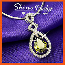 18K WHITE GOLD GF GREEN EMERALD OVAL PEAR DROP HALO SOLID PENDANT NECKLACE GIFT