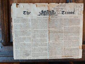 ORIGINAL ANTIQUE TIMES NEWSPAPER JUNE 22 1815 - WELLINGTON BATTLE OF WATERLOO