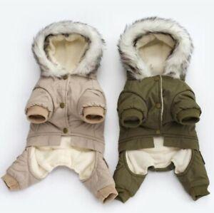 Dog Clothes Winter Warm Dog Green Coat Jumpsuit